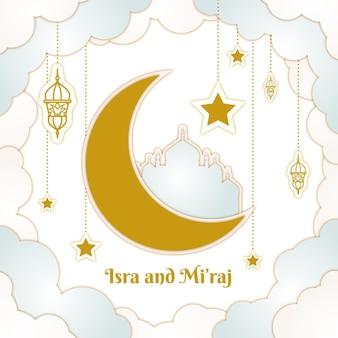 Handgetekende isra miraj illustratie met maan