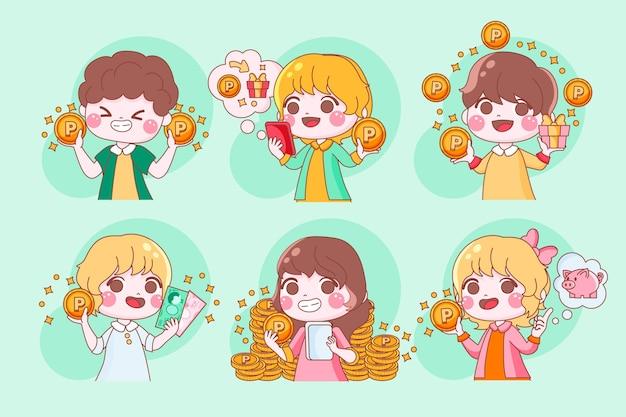 Handgetekende japanse karakters verzamelen punten