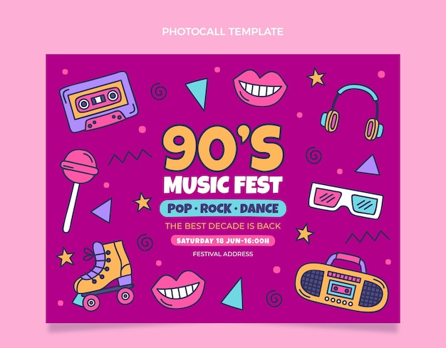 Handgetekende jaren 90 nostalgische muziekfestival photocall