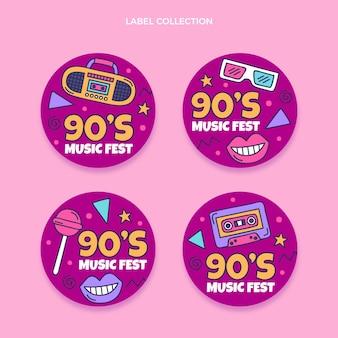 Handgetekende jaren 90 nostalgische muziekfestivallabels