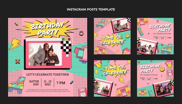 Handgetekende jaren 90 nostalgische verjaardag instagram posts collectie
