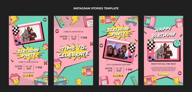 Handgetekende jaren 90 nostalgische verjaardag instagram verhalencollectie