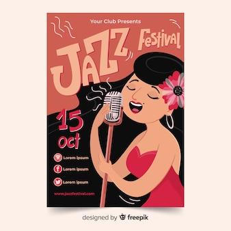 Handgetekende jazzmuziek-poster