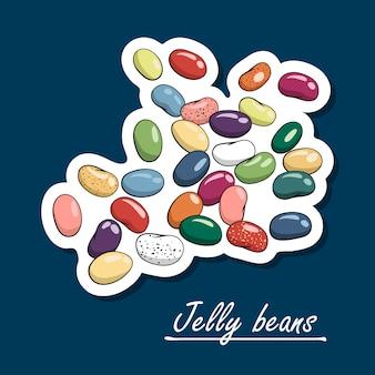 Handgetekende jelly beans