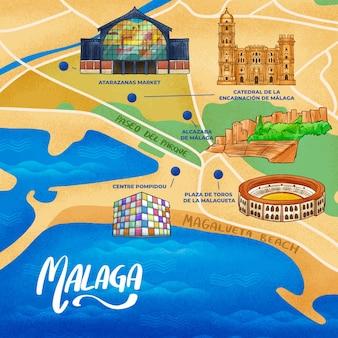 Handgetekende kaart van malaga