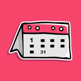 Handgetekende kalender cartoon ontwerp