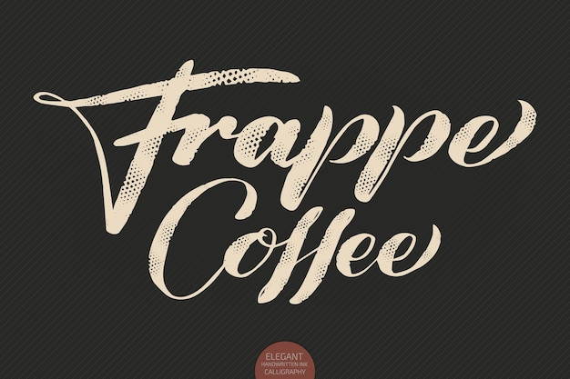 Handgetekende kalligrafie frappe coffee
