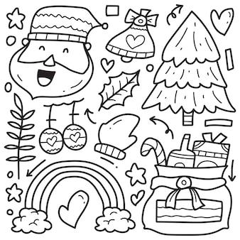 Handgetekende kerst doodle cartoon kleuren ontwerp