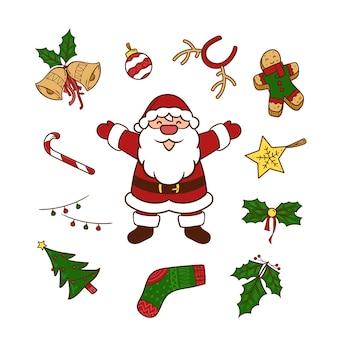Handgetekende kerst doodle design element set illustratie