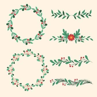 Handgetekende kerst frames en randen collectie
