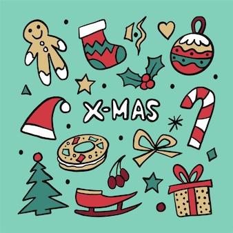 Handgetekende kerst icon pack