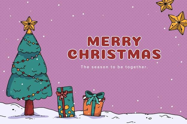 Handgetekende kerstachtergrond met kerstboom en cadeautjes