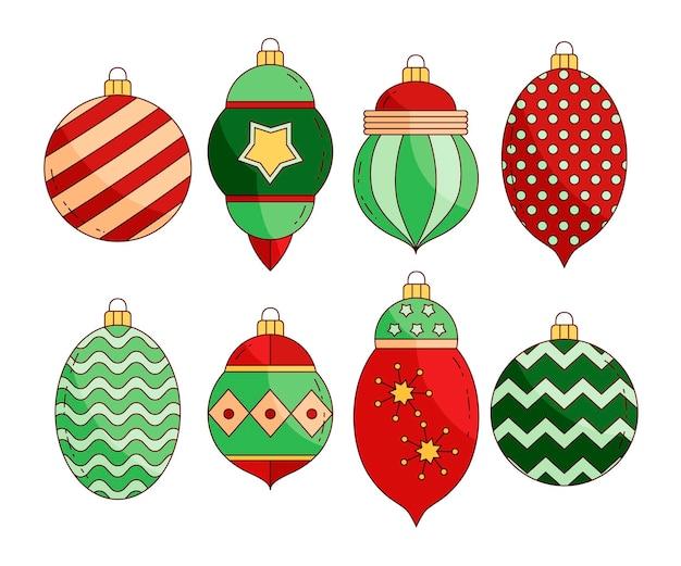 Handgetekende kerstbal ornamenten collectie