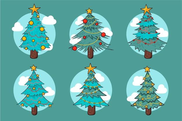 Handgetekende kerstbomen collectie