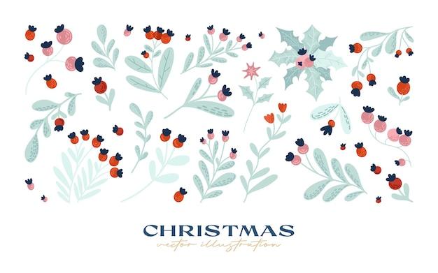 Handgetekende kerstelementencollectie