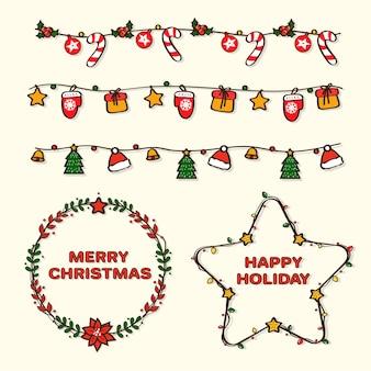 Handgetekende kerstkaders en randen