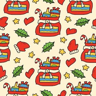 Handgetekende kerstkrabbel cartoon naadloos patroonontwerp