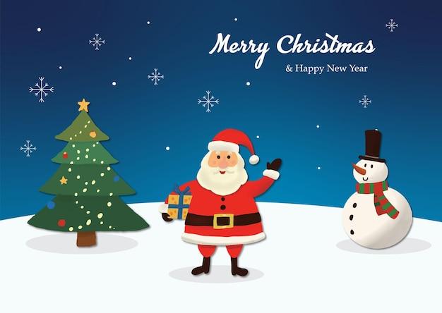 Handgetekende kerstman kerst achtergrond