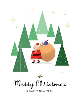 Handgetekende kerstman merry christmas background