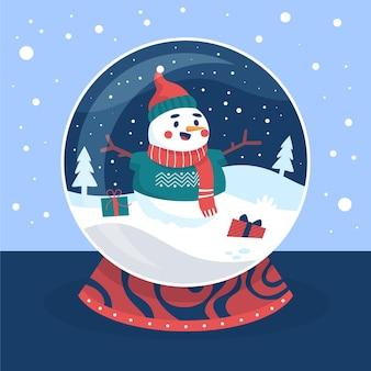 Handgetekende kerstmissneeuwbalbol met sneeuwpop