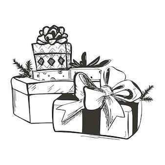 Handgetekende kerstschets met geschenkdozen