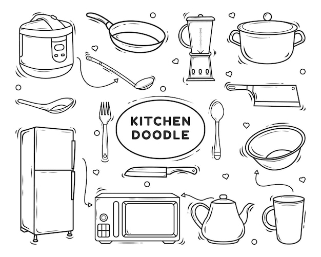 Handgetekende keukenapparatuur cartoon doodle ontwerp kleuren
