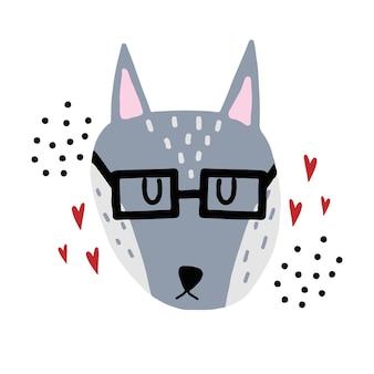 Handgetekende kinderachtige illustratie van een grijze wolf wolf in glazen met hartjes