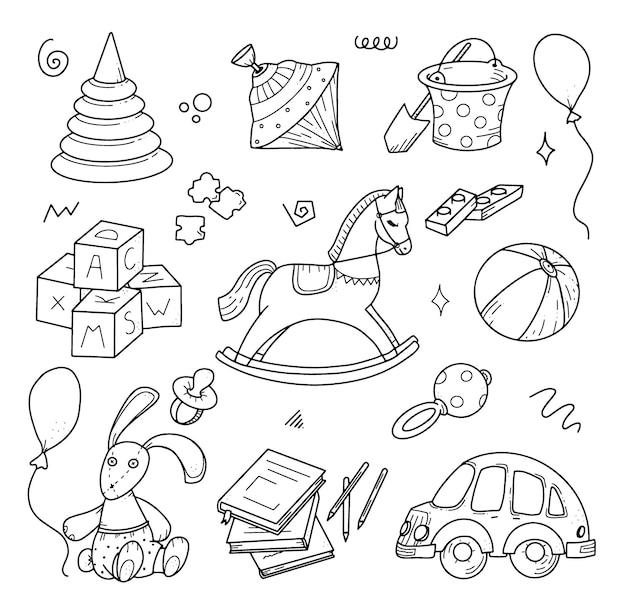 Handgetekende kinderen doodle set doodle stijl vectorillustratie voor achtergronden