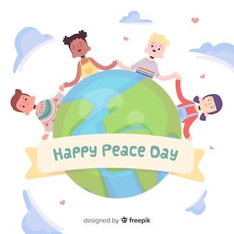 Handgetekende kinderen hand in hand voor vredesdag