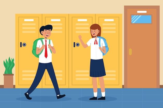Handgetekende kinderen terug naar school concept