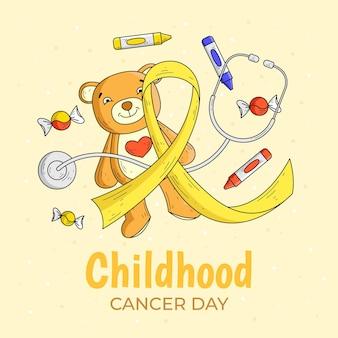 Handgetekende kinderkanker dag illustratie met teddybeer en lint