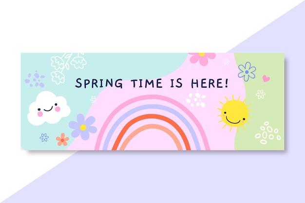 Handgetekende kinderlijke lente facebook omslag