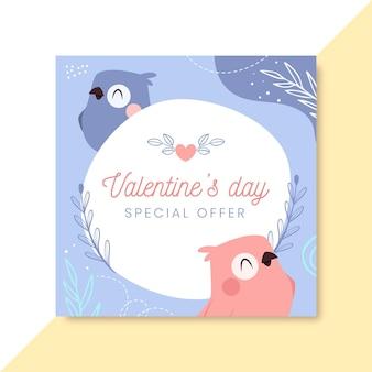Handgetekende kinderlijke valentijnsdag facebook-berichtsjabloon