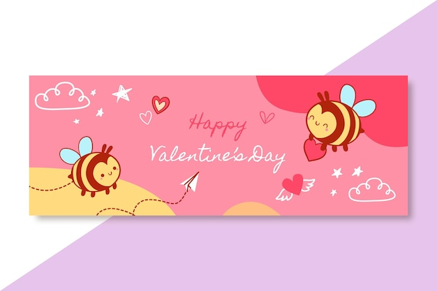 Handgetekende kinderlijke valentijnsdag facebook omslagsjabloon