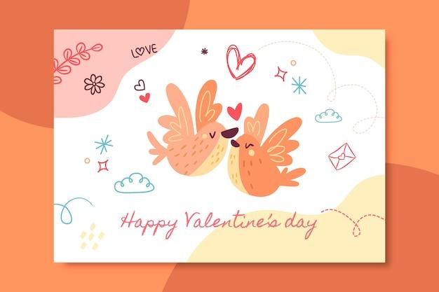 Handgetekende kinderlijke valentijnsdag kaartsjabloon