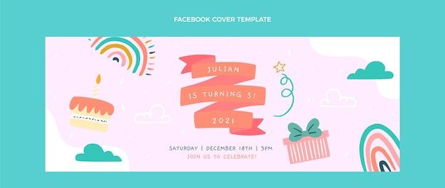 Handgetekende kinderlijke verjaardag facebook cover