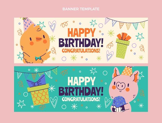 Handgetekende kinderlijke verjaardag horizontale banners