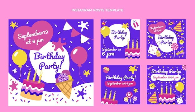 Handgetekende kinderlijke verjaardag ig post