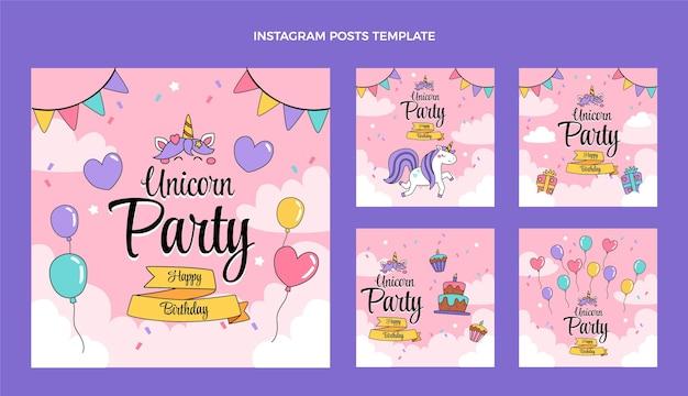 Handgetekende kinderlijke verjaardag instagram posts
