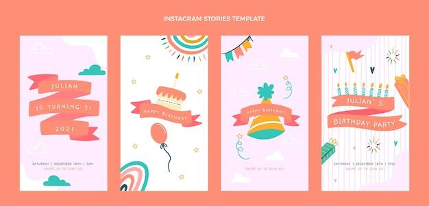 Handgetekende kinderlijke verjaardag instagramverhalen