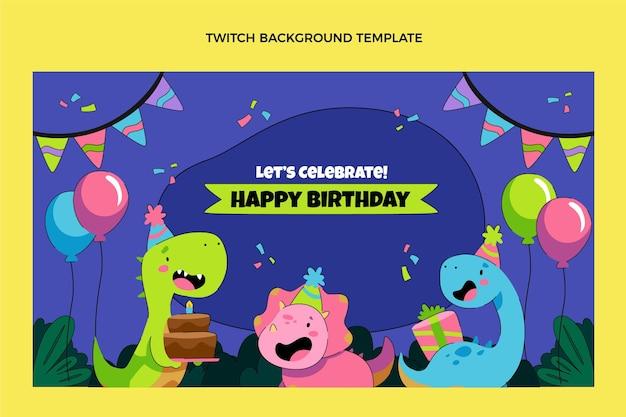 Handgetekende kinderlijke verjaardag twitch achtergrond