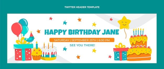 Handgetekende kinderlijke verjaardag twitter header