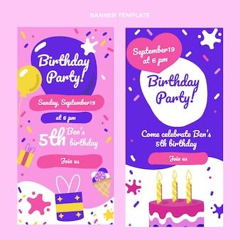 Handgetekende kinderlijke verjaardagsbanners verticaal