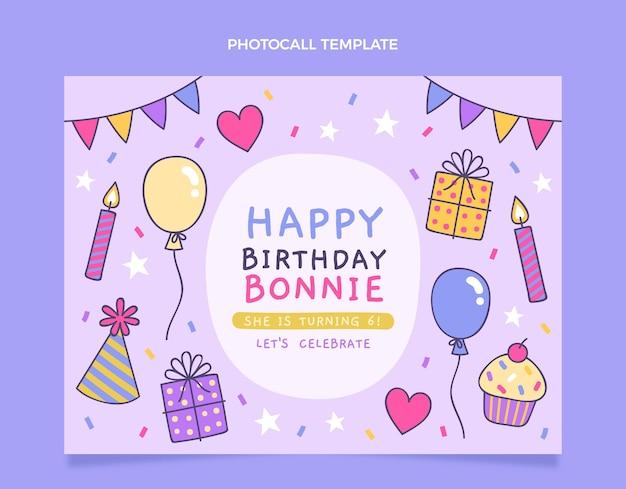 Handgetekende kinderlijke verjaardagsfotocall