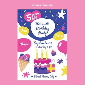 Handgetekende kinderlijke verjaardagsposter