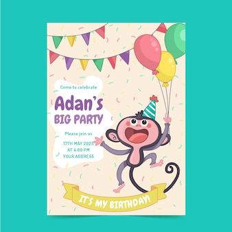Handgetekende kinderlijke verjaardagsuitnodiging