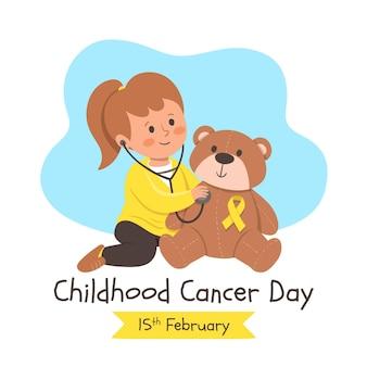 Handgetekende kindertijd kanker dag illustratie met meisje en teddybeer