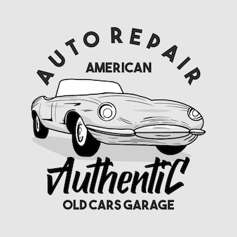Handgetekende klassieke auto garage typografie
