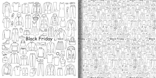 Handgetekende kleding black friday-set en naadloos patroon