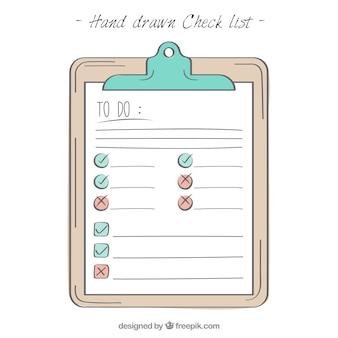 Handgetekende klembord met checklist